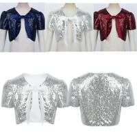 Kids Girls Sequined Cropped Bolero Cardigan Shrug Cardigan Tops Party Outwear