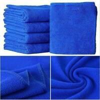 10Pcs Large Blue Microfibre Cleaning Car Auto Detailing Soft Cloths Wash Towels