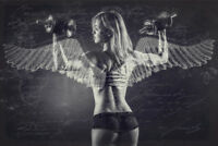 BEAUTIFUL ANGEL WINGS BODYBUILDING GYM GIRL CANVAS PICTURE #105 FRAMED WALL ART