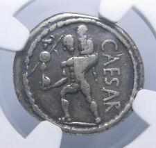 Julius Caesar AR Denarius, Aeneas carrying his father, 47-46 BC, Certified NGC