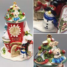 Blue Sky Clayworks Village Christmas Shop Tea Light Candle Holder Snowman Clock