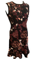 "6 Ivanka Trump ""The Forest"" Black Purple New NWT Floral Print Dress Sleeveless"