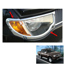Head Lamp Light Cover Chrome Trim 2 Pc Fit Mitsubishi L200 Triton Pickup 06 - 14