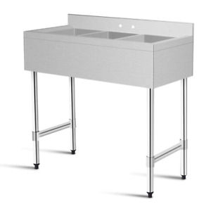Stainless Steel Top Kitchen Commercial Sink W/ 3 Large Compartments Heavy Duty