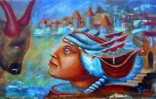 "Painting Original Oil canvas 22""x14"" Fine contemporary art surrealism ""oceans"""