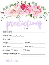 10 Baby Prediction Cards Baby Shower Games Pink Floral 19cm x 13.5cm 300 GSM