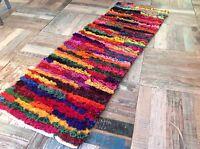 Multi Colour Shaggy Rag Rug 60cm x 200cm Bright Tufted Recycled Chindi Mat