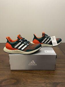 """Adidas Ultra 4D """"Miami Hurricanes"""" Size 7 Green/White/Orange Q46439"""