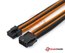8 Pin PCIE GPU Black Orange Sleeved 30cm Extension Shakmods + 2 Cable Combs