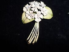 BSK Signed Pin Brooch My Fair Lady Boquet Rhinestone Estate Vintage Antique