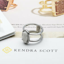 Kendra Scott Elyse Double Banded Rhodium Plated Ring in Iridescent Drusy 7 New
