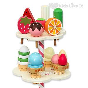 NEW Kids GIRLS Summer Fruit ICECREAM SHOP Stand Wooden TOY Pretend Play SET BOX