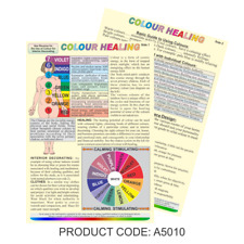 Colour Healing Guide Chart Uses & Effects on the Body Mind Environ A5 Laminated