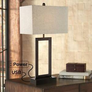 Modern Table Lamp with USB Outlet Bronze Rectangular Shade for Bedroom Office