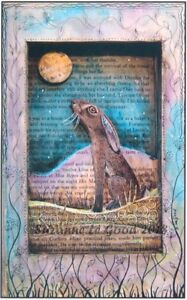Hare Moon gazing art print from original mixed media painting by Suzanne Le good