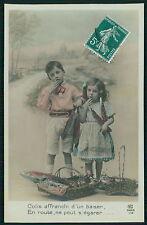 April Fool Day Luck Fish Child Girl Boy Friend original 1910s photo postcard 921
