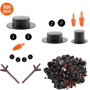 800pcs/set Hands DIY Snowman Mini Top Hats Christmas Buttons Carrot Noses Craft