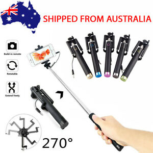 AU Extendable Wired Selfie Stick Remote Shutter Unipod For iPhone & Samsung