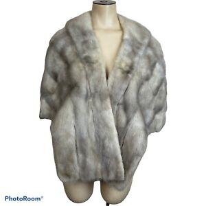 Vintage Genuine Mink Fur Cape Stole  Silver Gray