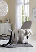 IBENA Reversible Jacquard Woven Ombre Cotton Blend Throw Blanket Pretty Purisian