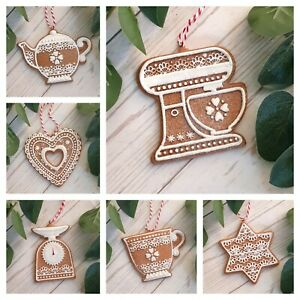 Christmas Gingerbread Tree Decoration Teacup Teapot Baking Star Hearts Cookie