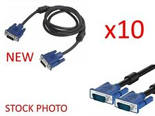 Lot of 10 New Vga Monitor Display Cables 6' Male/Male for Lcd Led Desktop Laptop