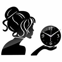 Cute Lady Wall Clock Large Home Decor Living Room Modern Quartz Girl Watch Diy