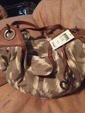 LUCKY BRAND Bali Hai Hobo Oyster Shoulder Bag Tote Khaki Brown Print NWT