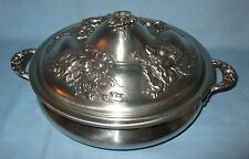 ANTIQUE COLLECTIBLE QUADRUPLE PLATE BAKING DISH w/RING COVER COLUMBIAN SILVER CO