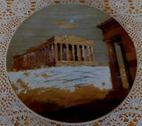 Vintage Painting Acropolis Parthenon Athens Greece Terracotta Plate Plaque 1949