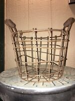 """8"""" Primitive Country Style Farmhouse Rustic Iron Metal Egg Basket Double Handle"""