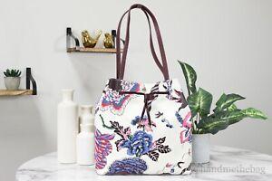Tory Burch 55395 Kerrington Floral Coated Canvas Drawstring Bucket Tote Handbag