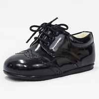 Baby Boys Early Steps Black Patent Brogues Lace Up Formal Page Boy Shoes