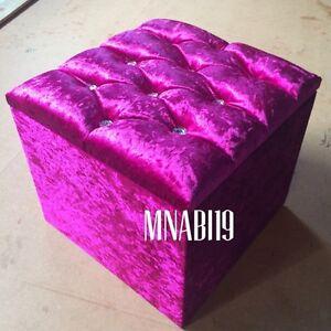 CERISE HOT PINK CRUSHED VELVET 10 DIAMOND OTTOMAN STORAGE FOOTSTOOL BOX 16 X 16
