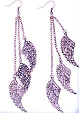 metallic feather hook earrings, 3 chains with a metal feather on each