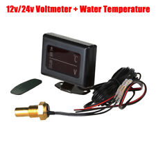 LCD Digital Water Temp Thermometer Voltmeter Voltage Gauge for  Car Truck