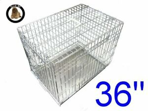 Ellie-Bo Dog Puppy Cage Large 36 inch Silver Folding 2 Door Crate with Non-Chew