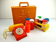 VINTAGE FISHER PRICE Toys Tool Kit Drill Milk Juice Bottles Jugs Case Phone