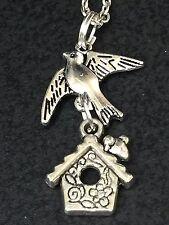 """Bird Sparrow Birdhouse Charm Tibetan Silver 18"""" Necklace"""