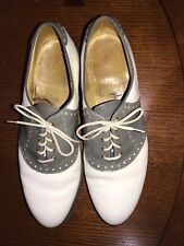 Vintage Bostonian Gray/White Leather Saddle Golf Shoes Excellent Cond 13 C/A