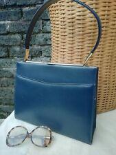 Vintage Original 60s Lge Blue Genuine Leather Dolly Kelly Grab Bag. Superb..