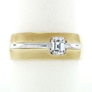 Cornelis Hollander 14k Two Tone Gold Emerald Cut Diamond Dual Finish Band Ring