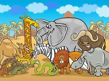 ART PRINT POSTER PAINTING DRAWING GANG CARTOON AFRICAN ANIMALS LFMP1055