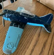 Hubley airplane #495 folding wings Dark blue/light blue