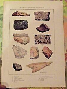 1924 Impression Principales Formations Géologiques Gypse Marbre Cristaux Grès