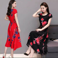 Fashion Women O-Neck Short sleeve Long Dress Printed Slim A-Line Fadies Dress