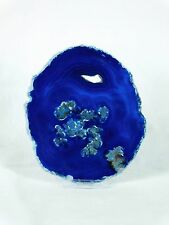 ASD58) Large Blue Agate Crystal Slice Coaster Arts Crafts Gift Geode 5.5 inch