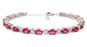 Silver Ruby & Diamond 7.86ct Adjustable Tennis Bracelet (Free Gift Box)