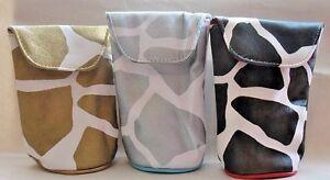 Sunglass Case Kristine New Giraffe Print Black Silver Gold 3 Choices Suede Inner