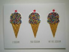 C.R.GIBSON ~ EMBELLISHED ICE CREAM CONES BIRTHDAY GREETING CARD + ENVELOPE